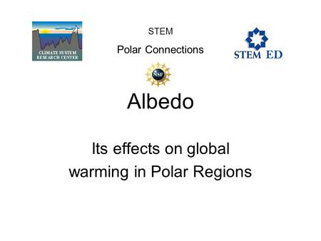 Albedo Its effects on global warming in Polar Regions STEM Polar Connections.