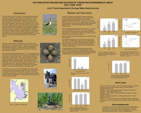 FACTORS AFFECTING NESTING SUCCESS OF COEXISTING SHOREBIRDS AT GREAT SALT LAKE, UTAH John F. Cavitt, Department of Zoology, Weber State University The Great.