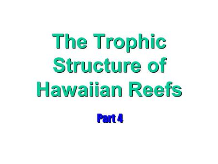 The Trophic Structure of Hawaiian Reefs Part 4. stomatopods.