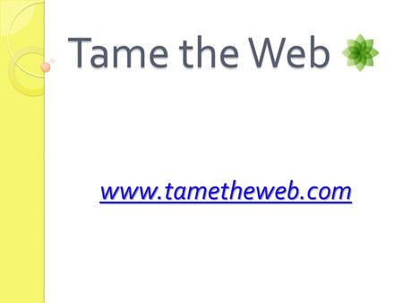 Tame the Web www.tametheweb.com. History of Tame the Web:  Officially began on 1 st of April 2003  Creator: Dr Michael Stephens, Assistant Professor.