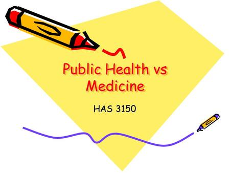 Public Health vs Medicine HAS 3150. Myths Medicine equals improved health status More and better equals healthier people The services we call health are.