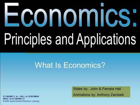 Slides by: John & Pamela Hall Animations by: Anthony Zambelli ECONOMICS 3e / HALL & LIEBERMAN WHAT IS ECONOMICS? © 2005 South-Western/Thomson Learning.