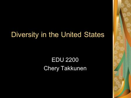 Diversity in the United States EDU 2200 Chery Takkunen.