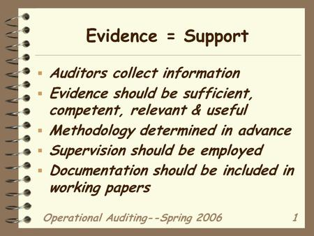Operational Auditing--Spring 20061 Evidence = Support  Auditors collect information  Evidence should be sufficient, competent, relevant & useful  Methodology.