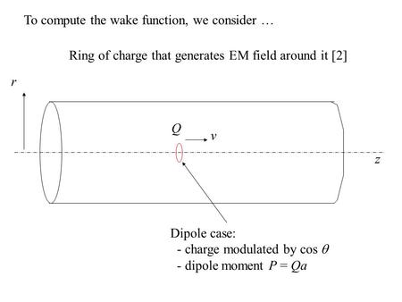 V Ring of charge that generates EM field around it [2] z r Dipole case: - charge modulated by cos  - dipole moment P = Qa Q To compute the wake function,