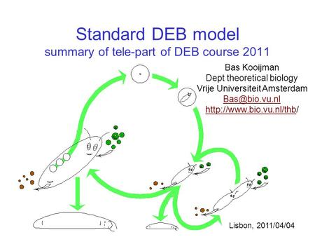 Standard DEB model summary of tele-part of DEB course 2011 Bas Kooijman Dept theoretical biology Vrije Universiteit Amsterdam