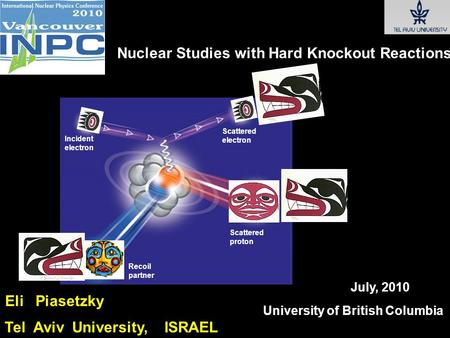University of British Columbia July, 2010 Eli Piasetzky Tel Aviv University, ISRAEL Nuclear Studies with Hard Knockout Reactions Incident electron Scattered.