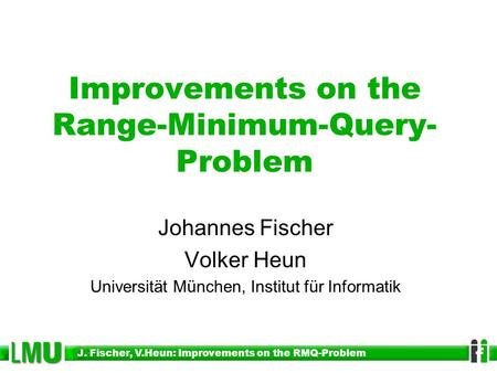 Improvements on the Range-Minimum-Query- Problem