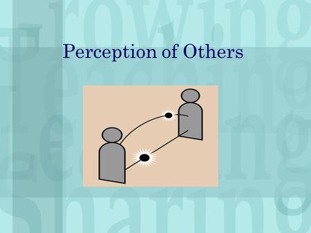 "Perception of Others. The Perception Process We receive information and then select what we can handle. Problems: Repetitious or ""loud"" stimuli Oversimplification."