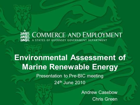 Environmental Assessment of Marine Renewable Energy Presentation to Pre-BIC meeting 24 th June 2010 Andrew Casebow Chris Green.