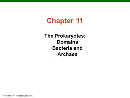 Copyright © 2010 Pearson Education, Inc. Chapter 11 The Prokaryotes: Domains Bacteria and Archaea.