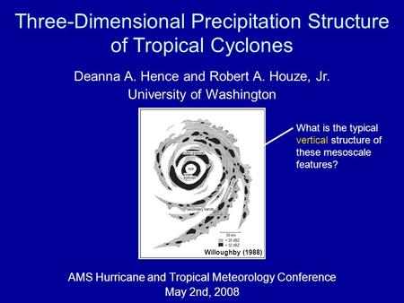 Three-Dimensional Precipitation Structure of Tropical Cyclones AMS Hurricane and Tropical Meteorology Conference May 2nd, 2008 Deanna A. Hence and Robert.