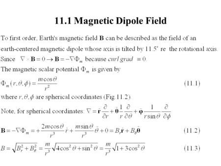 11.1 Magnetic Dipole Field. 11.1 Magnetic Dipole Field (2) B 