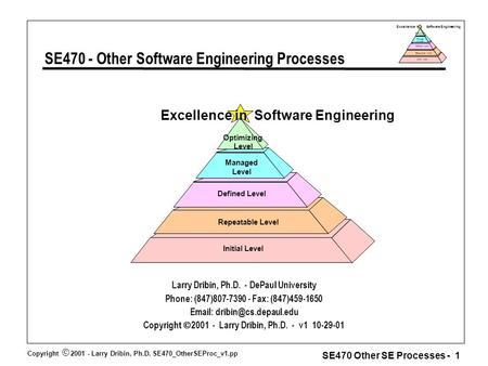 Copyright  2001 - Larry Dribin, Ph.D. SE470_OtherSEProc_v1.pp SE470 Other SE Processes - 1 Excellence in Software Engineering Repeatable Level Defined.