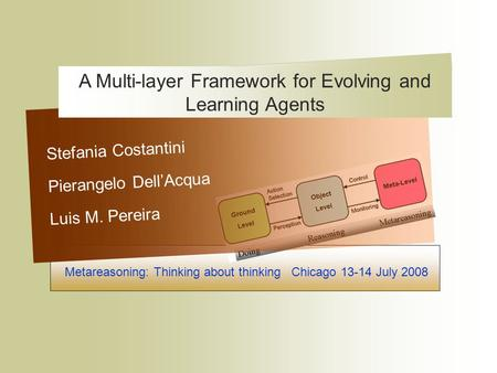 Metareasoning: Thinking about thinking Chicago 13-14 July 2008 Stefania Costantini Pierangelo Dell'Acqua Luis M. Pereira A Multi-layer Framework for Evolving.