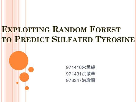 E XPLOITING R ANDOM F OREST TO P REDICT S ULFATED T YROSINE 971416 宋孟純 971431 洪敏華 973347 洪瑜珊.