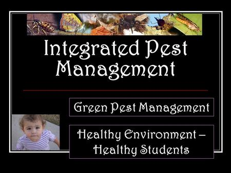 Integrated Pest Management Green Pest Management Healthy Environment – Healthy Students.