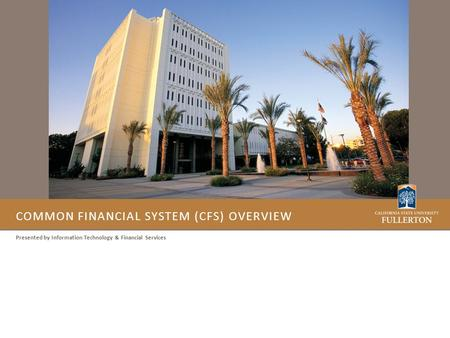 COMMON FINANCIAL SYSTEM (CFS) OVERVIEW Presented by Information Technology & Financial Services.