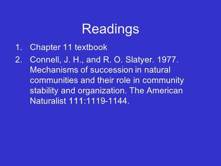 Readings Chapter 11 textbook