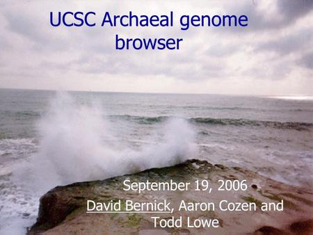 UCSC Archaeal genome browser September 19, 2006 David Bernick, Aaron Cozen and Todd Lowe September 19, 2006 David Bernick, Aaron Cozen and Todd Lowe.