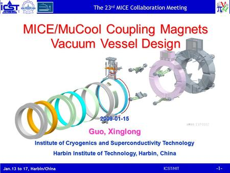 -1- ICST/HIT The 23 rd MICE Collaboration Meeting Jan.13 to 17, Harbin/China MICE/MuCool Coupling Magnets Vacuum Vessel Design 2009-01-15 Guo, Xinglong.