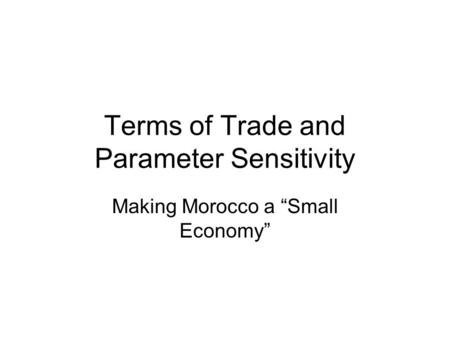 "Terms of Trade and Parameter Sensitivity Making Morocco a ""Small Economy"""