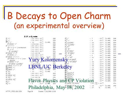 B Decays to Open Charm (an experimental overview) Yury Kolomensky LBNL/UC Berkeley Flavor Physics and CP Violation Philadelphia, May 18, 2002.