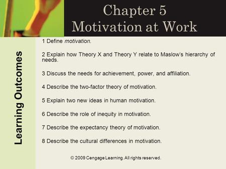 Chapter 5 <strong>Motivation</strong> at Work