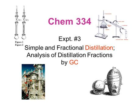 Chem 334 Expt. #3 Simple and Fractional Distillation; Analysis of Distillation Fractions by GC Figure 1 Figure 2.
