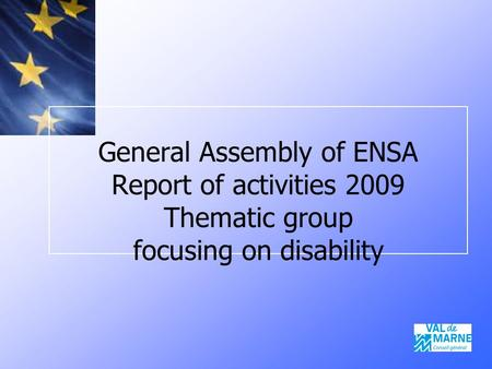 General Assembly of ENSA Report of activities 2009 Thematic group focusing on disability.