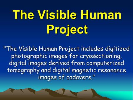 The Visible Human Project The Visible Human Project includes digitized photographic images for cryosectioning, digital images derived from computerized.