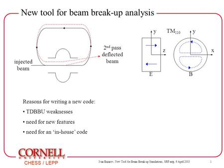 Ivan Bazarov, New Tool for Beam Break-up Simulations, SRF mtg, 9 April 2003 1 CHESS / LEPP New tool for beam break-up analysis y z y x EB injected beam.