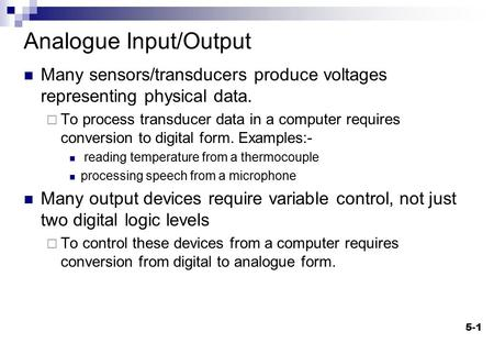 Analogue Input/Output
