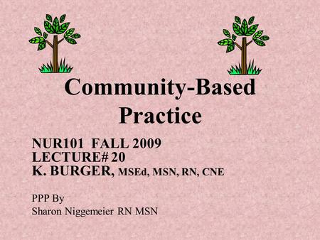 Community-Based Practice NUR101 FALL 2009 LECTURE# 20 K. BURGER, MSEd, MSN, RN, CNE PPP By Sharon Niggemeier RN MSN.