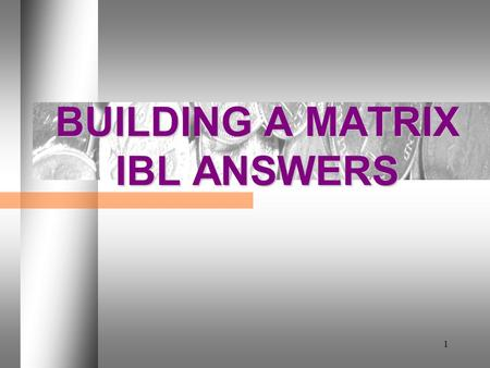 1 BUILDING A MATRIX IBL ANSWERS. DAY 2 2 IBL 1. What is IBL's relative share for product 1? 1.5:1  Table 5.1 (1,500 divided by 1,000) = 1.5:1.