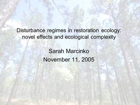 Disturbance regimes in restoration ecology: novel effects and ecological complexity Sarah Marcinko November 11, 2005.