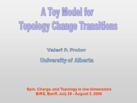 Spin, Charge, and Topology in low dimensions BIRS, Banff, July 29 - August 3, 2006.
