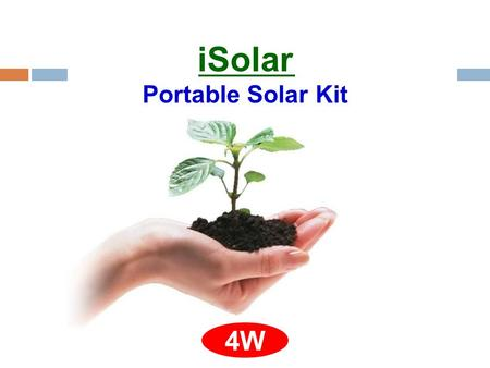 ISolar Portable Solar Kit 4W. Front view of the solar panel while it stand Size: 20 x 23 x 3 cm, Weight: 390 gram.