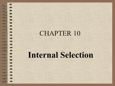 CHAPTER 10 Internal Selection. Preliminary Issues The Logic of Prediction Types of Predictors Selection Plan.