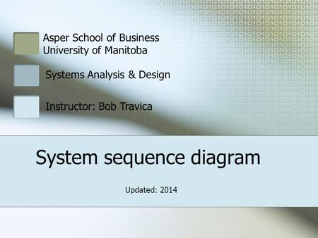 Asper School of Business University of Manitoba Systems Analysis & Design Instructor: Bob Travica System sequence diagram Updated: 2014.
