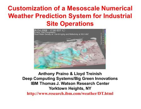Customization of a Mesoscale Numerical Weather Prediction System for Industrial Site Operations Anthony Praino & Lloyd Treinish Deep Computing Systems/Big.