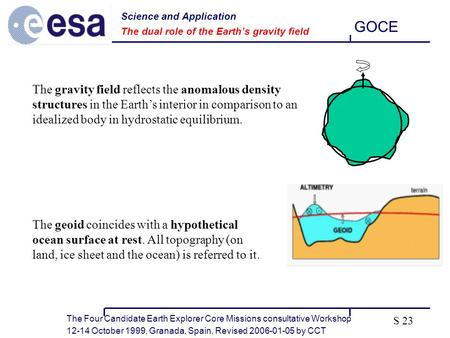 The Four Candidate Earth Explorer Core Missions consultative Workshop 12-14 October 1999, Granada, Spain, Revised 2006-01-05 by CCT GOCE S 23 The gravity.