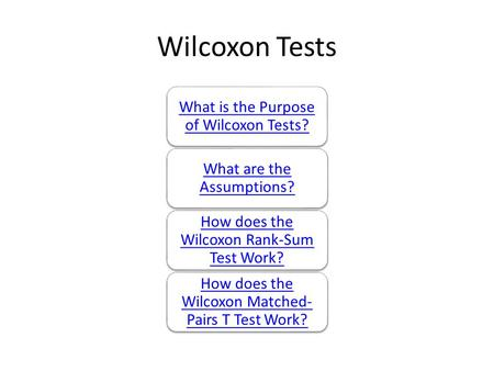 Wilcoxon Tests What is the Purpose of Wilcoxon Tests? What are the Assumptions? How does the Wilcoxon Rank-Sum Test Work? How does the Wilcoxon Matched-