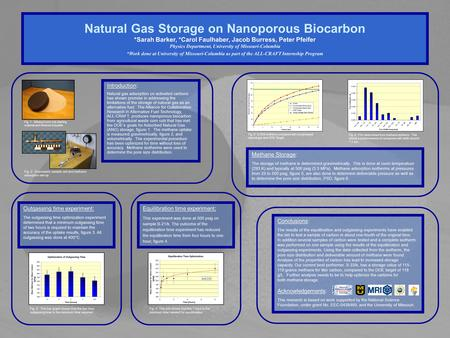Natural Gas Storage on Nanoporous Biocarbon *Sarah Barker, *Carol Faulhaber, Jacob Burress, Peter Pfeifer Physics Department, University of Missouri-Columbia.