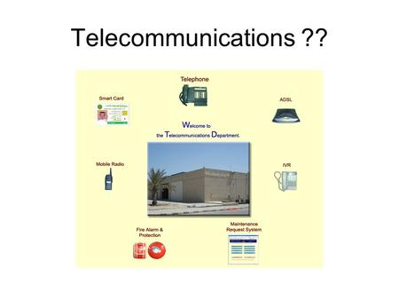 Telecommunications ??. Recently Completed Projects Enhancement of Telephone Network Infrastructure. (Farooq, Doha, Ferdows and KFUPM Schools) Installing.