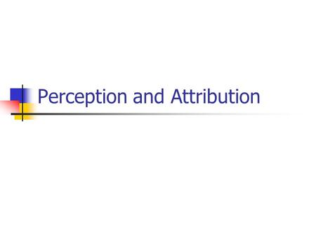 Perception and Attribution. Perception The process by which we Select and pay attention Organize and interpret Store in memory Retrieve and respond to.
