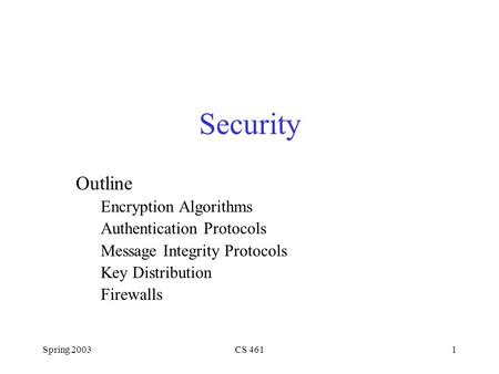 Spring 2003CS 4611 Security Outline Encryption Algorithms Authentication Protocols Message Integrity Protocols Key Distribution Firewalls.
