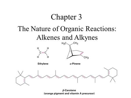The Nature of Organic Reactions: Alkenes and Alkynes