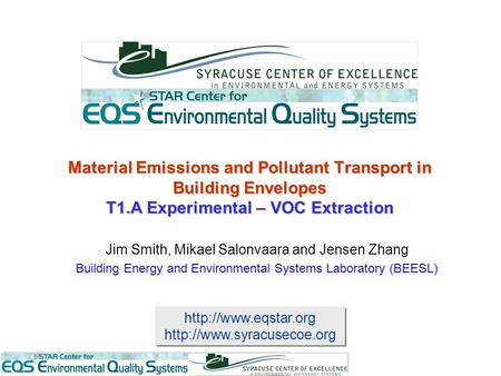 Material Emissions and Pollutant Transport in Building.