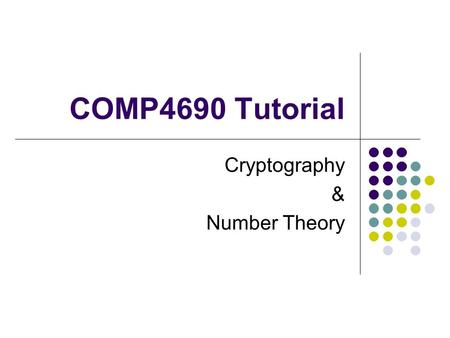 Cryptography & Number Theory